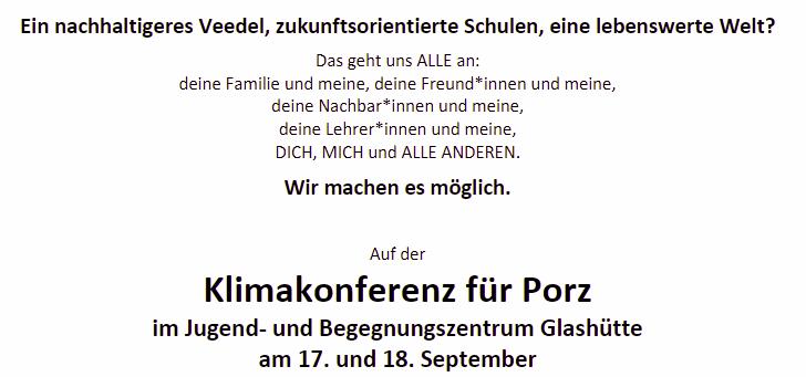 Terminankündigung Klimakonferenz in Porz