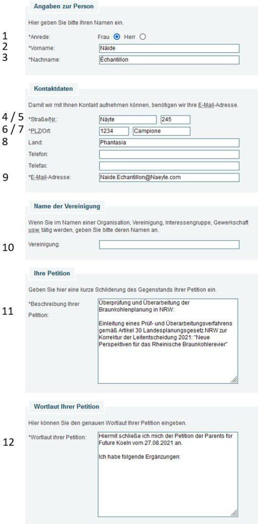 Formularseite Online-Petitionen des Landtags NRW -  https://www.landtag.nrw.de/home/petitionen/online-petition.html